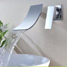 Beli Dinding Mount Mixer Panas Dalam Waktu Yang Singkat Terjun Chrome Kamar Mandi Sink Faucet Modern Basin Tuas Uk Online