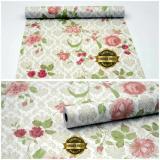 Beli Wallpaper Sticker Dinding Bunga Mawar Berdaun Batik Krem Indonesia