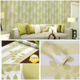 Harga Wallpaper Sticker Dinding Hijau Garis Putih Daun Hijau Serat Emas Asli