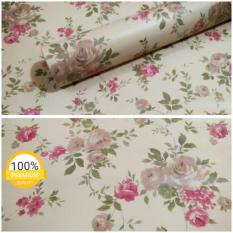 Situs Review Wallpaper Sticker Dinding Krem Kuning Bunga Mawar Merah Coklat Berdaun Hijau