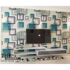Harga Wallpaper Sticker Dinding Pohon Bingkai Biru Kotak Kotak Keren Modern Terbaik