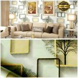 Jual Wallpaper Sticker Dinding Pohon Bingkai Kota Putih Krem Satu Set