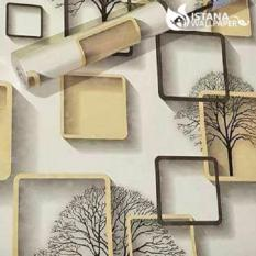 Diskon Wallpaper Sticker Premium 10 Meter Elegan Square Cream Branded