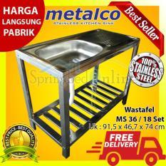 Wastafel/Bak Cuci Piring Metalco MS 36 / 18 Set Portable Knock Down Stainless Anti Karat Harga Pabrik