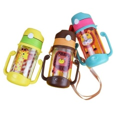 Water Cup Cartoon BPA Free Plastic Water Bottle With Rope Children Direct Drinking Eco-friendly Camp Tumbler Kids Hiking 400ML