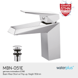 Miliki Segera Waterplus Basin Mixer Short W Pop Up Mbn 051E H 169Mm