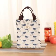 Tas Makan Tahan Air untuk Wanita Anak-anak Pria Kotak Makan Siang Cooler Tas Kanvas Jinjing Tas Makan Siang Paket Isolasi Portabel