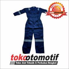 Wearpack Biru Navy - Garis Abu-Abu - Seragam Baju Kerja Bengkel Pakaian Mekanik Safety workshop