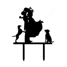 Wedding Acrylic Kue Pengantin dan Dua Anjing Hitam-Intl