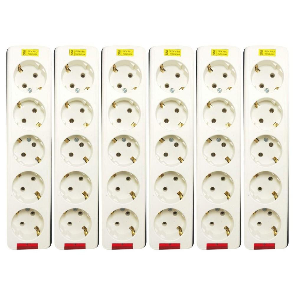 Harga preferensial WEITECH STOP KONTAK/COLOKAN 5 LUBANG 5515 6 PCS terbaik murah - Hanya Rp72.981