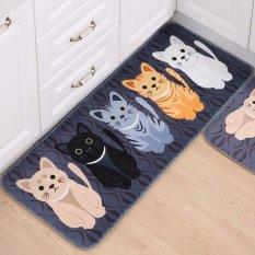Selamat Datang Tikar Animal Cute Cat Karpet Kamar Mandi Dapur Cetak House Kipas Pelapis untuk Ruang Tamu Anti-Slip Tapete Rug -Intl
