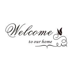 Selamat Datang Di Rumah Kami Kutipan Vinil Dapat Dilepas Stiker Dinding Stiker Dekorasi Rumah DIY