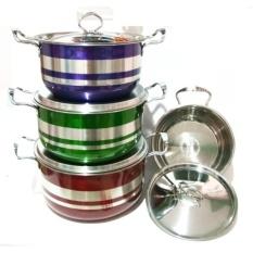 Harga Weston Panci Set Stainless Steel Stock Pot Colorful Warna 8 Pcs Murah