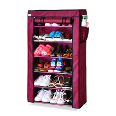 Toko Whiz Amazing Portable Shoe Rack 6 Layers With Dust Cover Purple Banten
