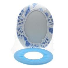 Whyus 2 Buah/Set Tutup Penutup Atas Dicuci Lembut + Cincin O Tikar Bantalan Kursi Toilet Kamar Mandi Lebih Hangat (biru) -Internasional