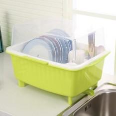 Dengan Tutup Sumpit Kotak Peralatan Makan Piring Rak Rackplastic Lemari Dapur Menguras Air Dish Rak untuk Menempatkan Piring Driprac- internasional