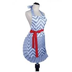 Womens Fashion Big Apron Baking Memasak Dapur Celemek Adalah Mesin Yang Bisa Dicuci dengan Kantong Depan, Abu-abu dan Putih ZigZag Stripe, Chevron Grey-Intl