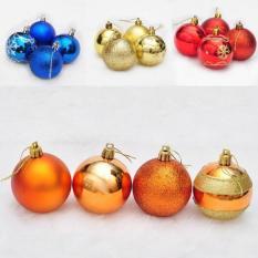 Kekuatan Luar Biasa 4 Pcs Baru Modis Hari Natal Balls Warna-Warni Bola Baubles Pesta Xmas Pohon Dekorasi Gantungan ornamen Dekorasi-Multicolor-8-Internasional
