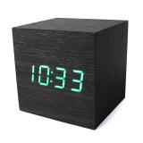 Harga Alarm Led Cube Kayu Kontrol Suara Digital Termometer Jam Meja Kayu Asli Oem