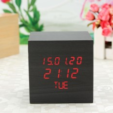 Wooden Wood Square LED Digital Desk Alarm Clock Date/Time/Week Voice Control Black wood -- Red led