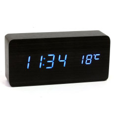 Harga Kayu Kayu Usb Aaa Digital Biru Led Alarm Jam Kalender Termometer Hitam Termurah