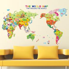 Peta dunia bahasa Inggris huruf stiker dinding rumah stiker PVC mural vinil Paper House dekorasi Wallpaper ruang tamu kamar tidur dapur gambar seni diseduh sendiri untuk anak remaja dewasa bayi Senior bibit - International