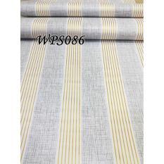 Diskon Wps086 Grey N Gold Line Wallpaper Dinding Walpaper Stiker Dinding Wallpaper 45X5