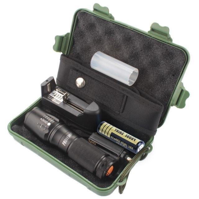 Harga X800 Zoomable Xml T6 Led Tactical Police Flashlight 18650 Charger Case Black Dan Spesifikasinya