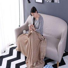 Benang Dicelup Kapas Rajutan Thread Selimut Home Tekstil Plaid Modern Hotel Selimut untuk Tempat Tidur Cuci Mekanik Sofa Selimut 130*170 Cm-Intl