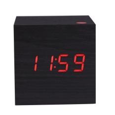 YBC USB Powered Mini Kayu Jam LED Desktop Digital Alarmclockblack-Intl