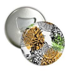 Kuning Nanas Lemon Buah Tropis Sepanjang Pembuka Botol Magnet Kulkas Lencana Tombol 3 Pcs Hadiah-Internasional