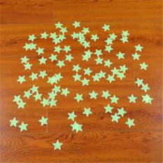 Yika 100 Pcs 3D Bintang Menyala Dalam Gelap Neon Stiker Dinding (Hijau)