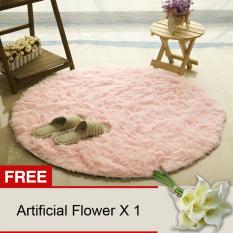 Harga Yika Bulat Berbulu Karpet 80 Cm Berwarna Merah Muda Membeli 1 Mendapatkan Gratisan Yika Asli