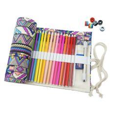 YJJZB Handmade Bohemian Pola Pensil Pensil Bungkus Kreatif Pensil Warna Berwarna Pensil Roller, 48 Lubang