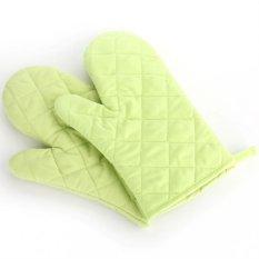 YOCHO 1 Pcs Desain Cek Cotton Heat Resistant Glove Baking Oven Mitt (Hijau)-Intl