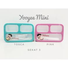 Yooyee Mini Kotak Makan Grid Bento Lunch Box Anti Bocor Sekat 3
