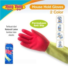YOUNG YOUNG Latex Gloves IL SARUNG TANGAN DCOLOR 7.5INCH Karet Rubber - Pink
