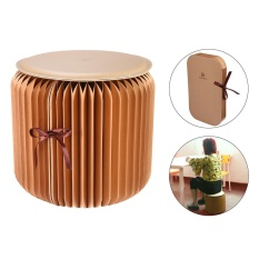 yuwen Flexible Paper Stool,Portable Home Furniture Paper Design Folding Chair With 1pcs Leather Pad,Brown Small Size - intl