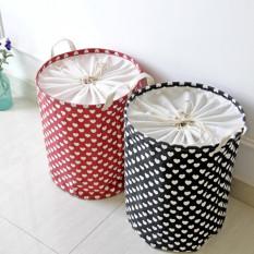 Zakka Groceries Love Menerima Laras Outdoor Garden Picnic Baskets Cotton Linen Basket Portable Binatu Keranjang Cucian Finishing Debris Basket (hitam) -Intl