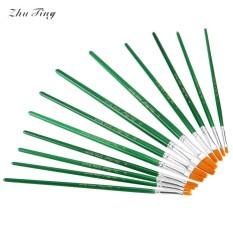 ZhuTing 12 Pcs Nylon Wol Akrilik Bahkan Menggambar Brush Pen Liner Lukisan Nail Art Alat-Internasional