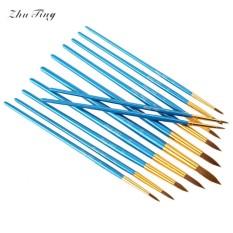 ZhuTing 12 Pcs Nylon Wol Akrilik Menunjuk Drawing Brush Pen Liner Lukisan Nail Art Alat-Internasional