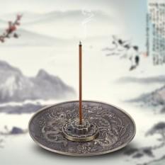 Paduan Seng Dupa Burner Pemegang Dragon Pola Censer Plate untuk Kamar Tidur Temple (Perunggu)-Intl