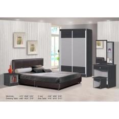 Zl Bedroom Set Dilengkapi dengan Lemari Pakaian, Tempat Tidur, Dresser, sisi Meja (Pengiriman & Pemasangan untuk Klang Valley Hanya)-Internasional
