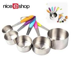 ZongHAX Set 5 Pcs Measuring Cups Set, Dapur Stainless Steel dengan Pegangan Silikon Mengukur Cangkir