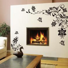 ZooYoo Butterfly Bunga Rotan Sofa Pengaturan TV Dinding Stiker (Putih)