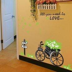 ZooYoo Kecil Tricycle dan Rambu Jalan Sofa Ruang Tamu Dinding Stiker (Hitam)