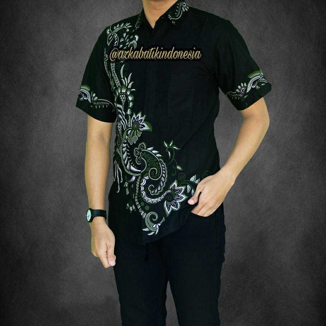 Baju Batik Kantor Baju Batik Kerja Atasan Batik Hem Batik Pria Motif Jagad  -Tosca b34eabb7d6