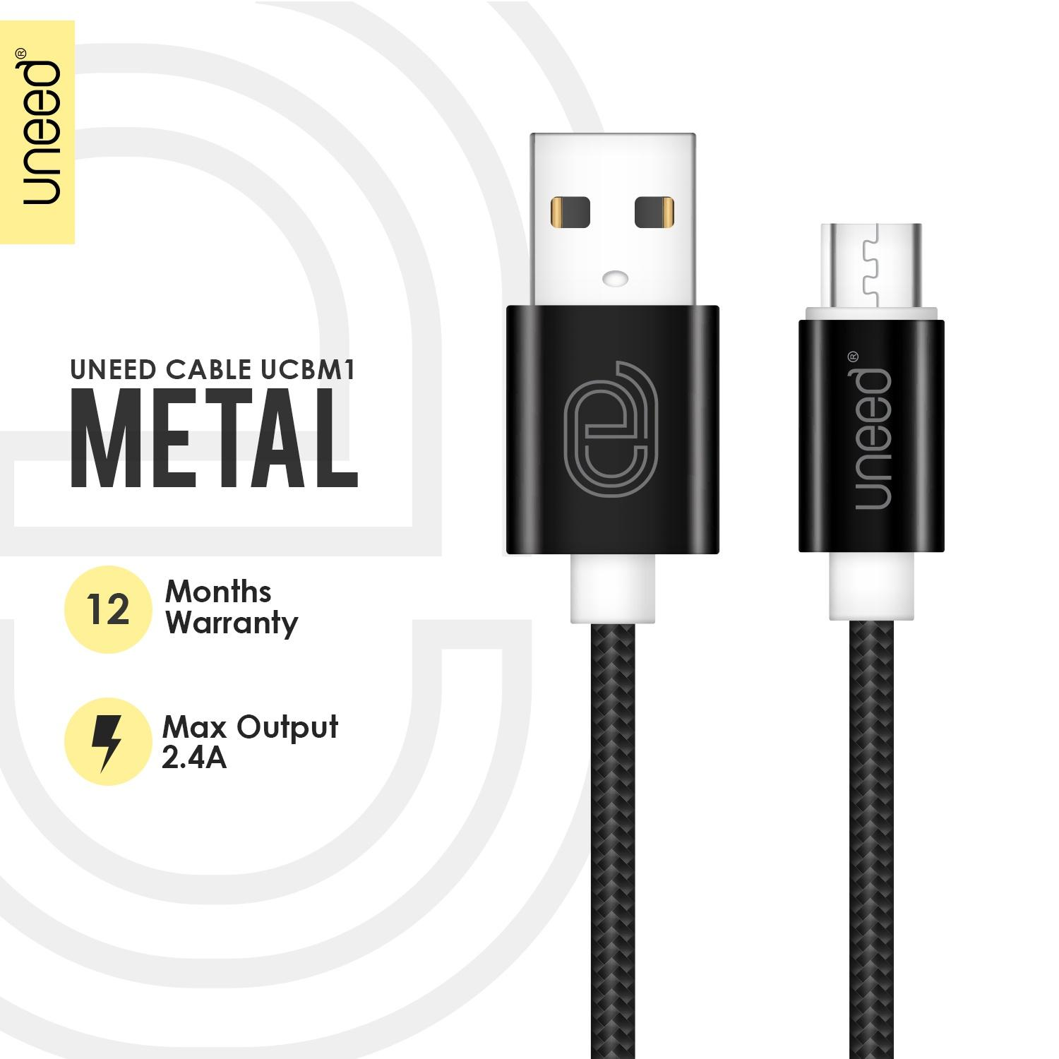 UNEED Nylon Kabel Data Micro USB Metal Quick Charge Fast Charging 2.1A - Original - Black