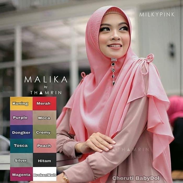 JILBAB KERUDUNG HIJAB INSTAN KHIMAR MALIKA MAHARDIKA KERUT - WARNA DUSTY PINK NO. 6