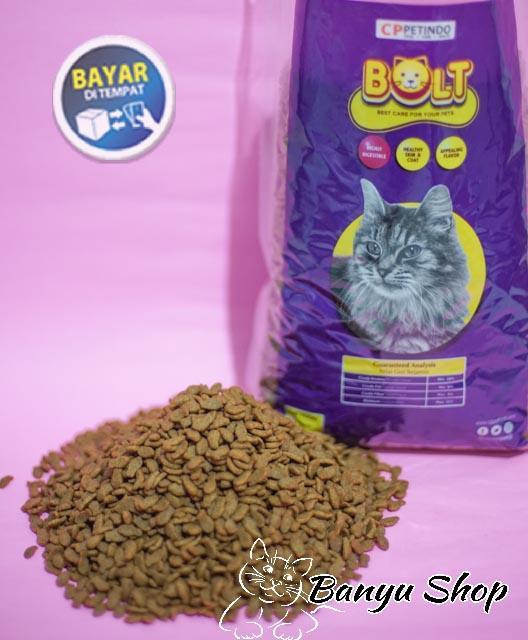 Makanan Kucing Bolt Cat Food Bentuk Ikan - Repack 500gr By Banyu Shop.